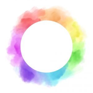 a white circle surrounded by swirls of color