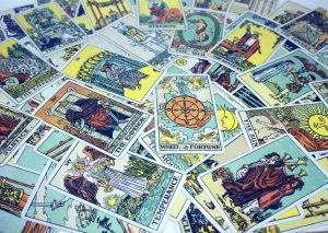Rider-Waite tarot cards spread out